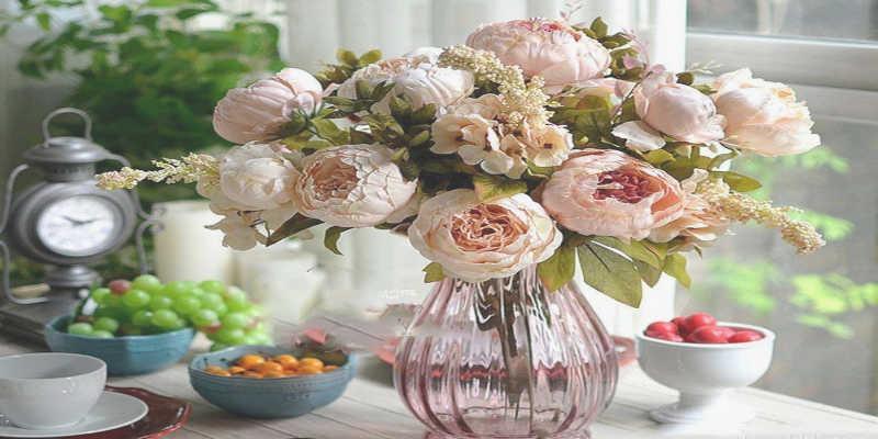 Jarrón con rosas secas barato baratos precio precios comprar