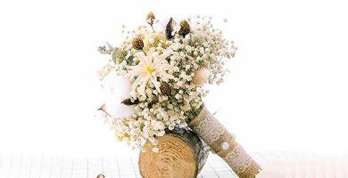 Ramo de flores de novia con flores secas blancas