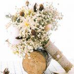 Ramo de novia blanco de flores secas naturales y artificiales