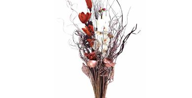 Ramo decorativo de flores secas de tallo alto